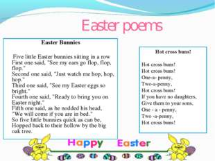 Easter poems Easter Bunnies Five little Easter bunnies sitting in a row First