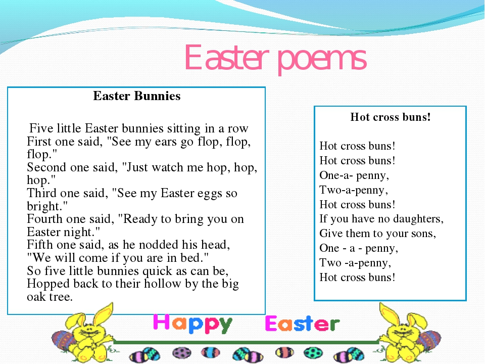 Easter poems Easter Bunnies Five little Easter bunnies sitting in a row First...