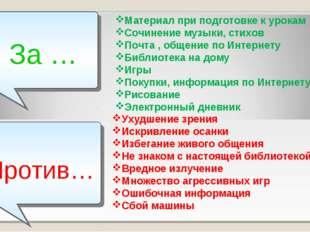 За … Против… Материал при подготовке к урокам Сочинение музыки, стихов Почта