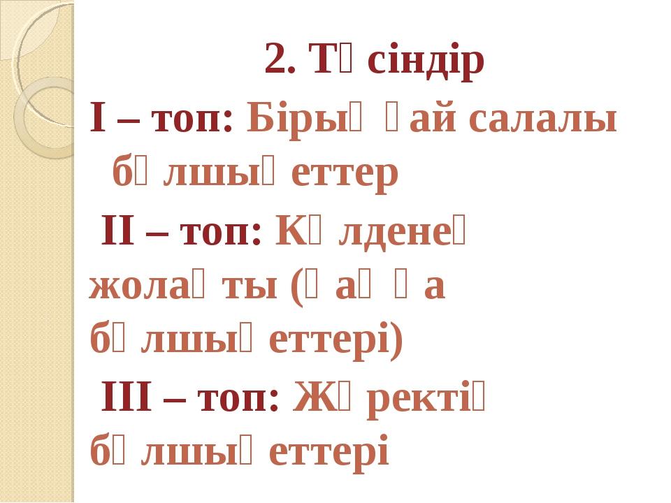 2. Түсіндір І – топ: Бірыңғай салалы бұлшықеттер ІІ – топ: Көлденең жолақты...