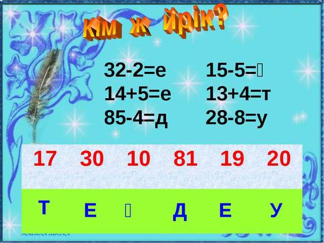 32-2=е 14+5=е 85-4=д 15-5=ң 13+4=т 28-8=у Т Е Ң Д Е У 173010811920