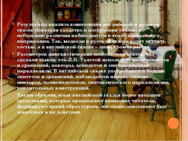 Результаты анализа композиции английской и русской сказок показали сходство в...