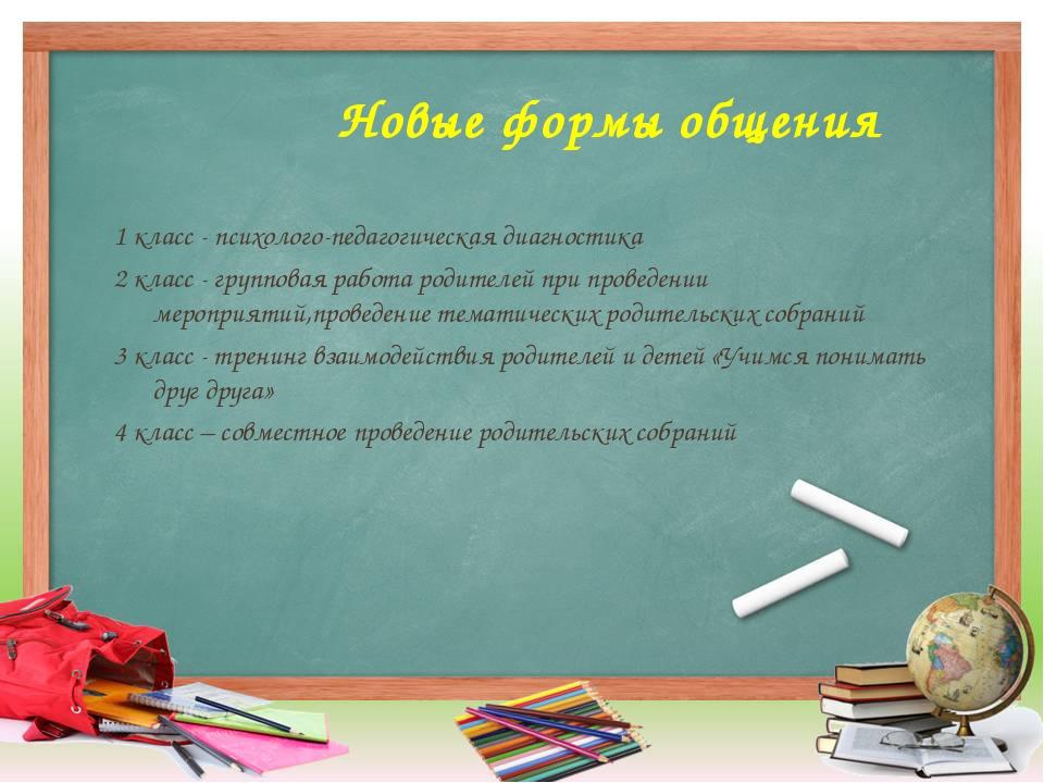 Новые формы общения 1 класс - психолого-педагогическая диагностика 2 класс -...