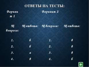 ОТВЕТЫ НА ТЕСТЫ: Вариант 1 Вариант 2  № вопроса: № ответа:№ вопроса: №