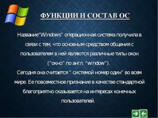 """ФУНКЦИИ И СОСТАВ ОС Название""""Windows"""" операционная система получила в связи с"""