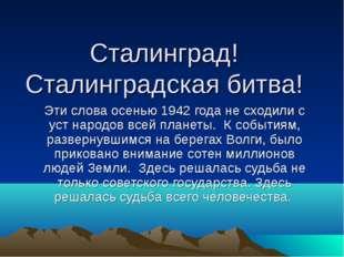 Сталинград! Сталинградская битва! Эти слова осенью 1942 года не сходили с уст