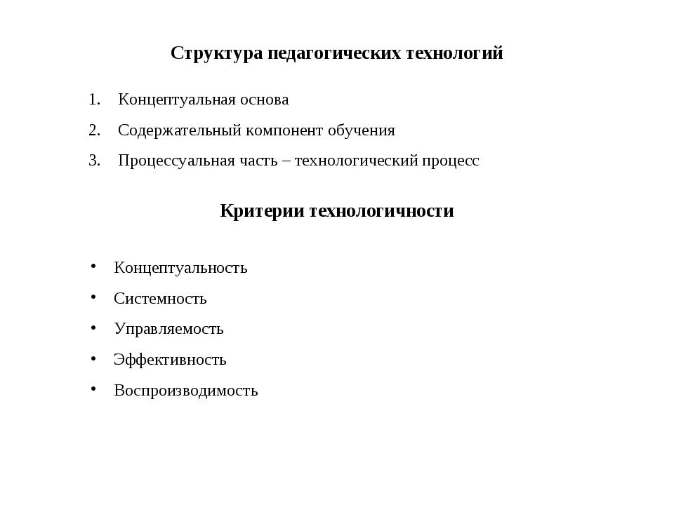 Структура педагогических технологий Концептуальная основа Содержательный комп...