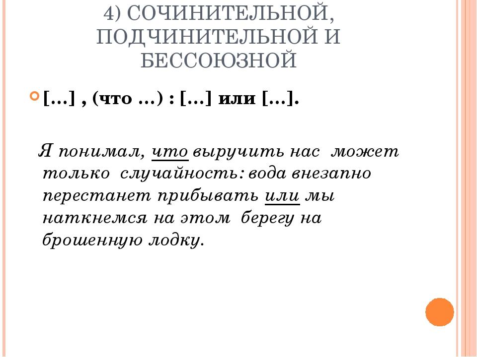 4) СОЧИНИТЕЛЬНОЙ, ПОДЧИНИТЕЛЬНОЙ И БЕССОЮЗНОЙ […] , (что …) : […] или […]. Я...