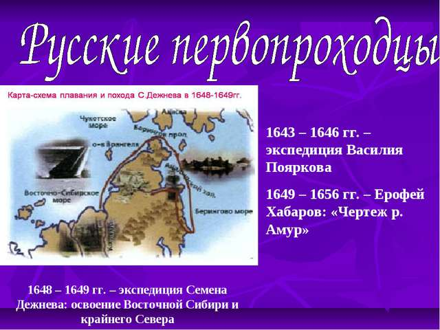 1648 – 1649 гг. – экспедиция Семена Дежнева: освоение Восточной Сибири и край...