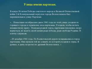 Улица имени партизан. В канун 30-летия Победы советского народа в Великой От