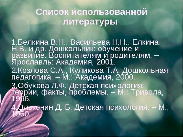 Список использованной литературы 1.Белкина В.Н., Васильева Н.Н., Елкина Н.В....