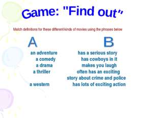 Match definitions for these different kinds of movies using the phrases below