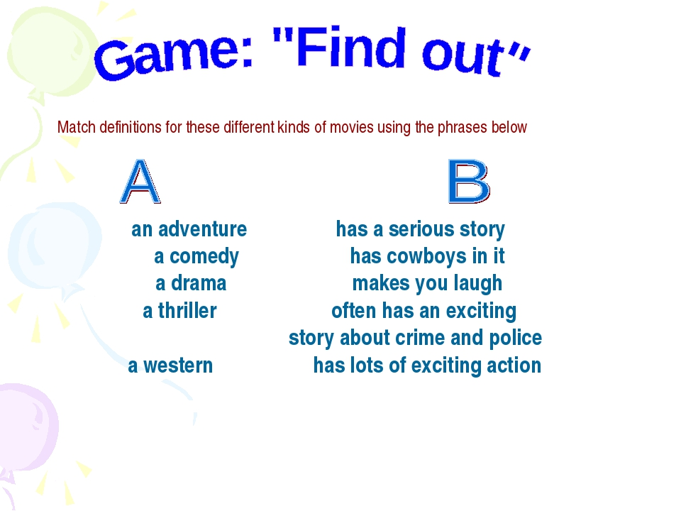 Match definitions for these different kinds of movies using the phrases below...