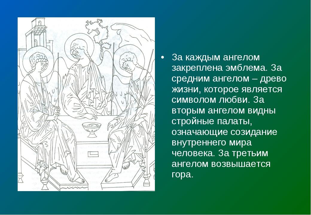За каждым ангелом закреплена эмблема. За средним ангелом – древо жизни, котор...