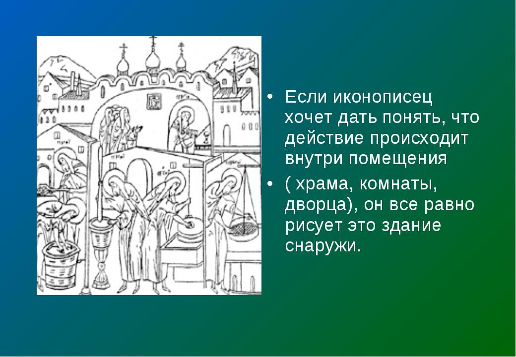 Если иконописец хочет дать понять, что действие происходит внутри помещения (...