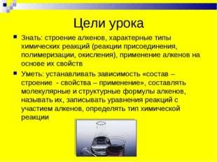 Цели урока Знать: строение алкенов, характерные типы химических реакций (реак