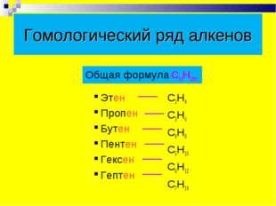 Гомологический ряд алкенов Этен Пропен Бутен Пентен Гексен Гептен C2H4 C3H6