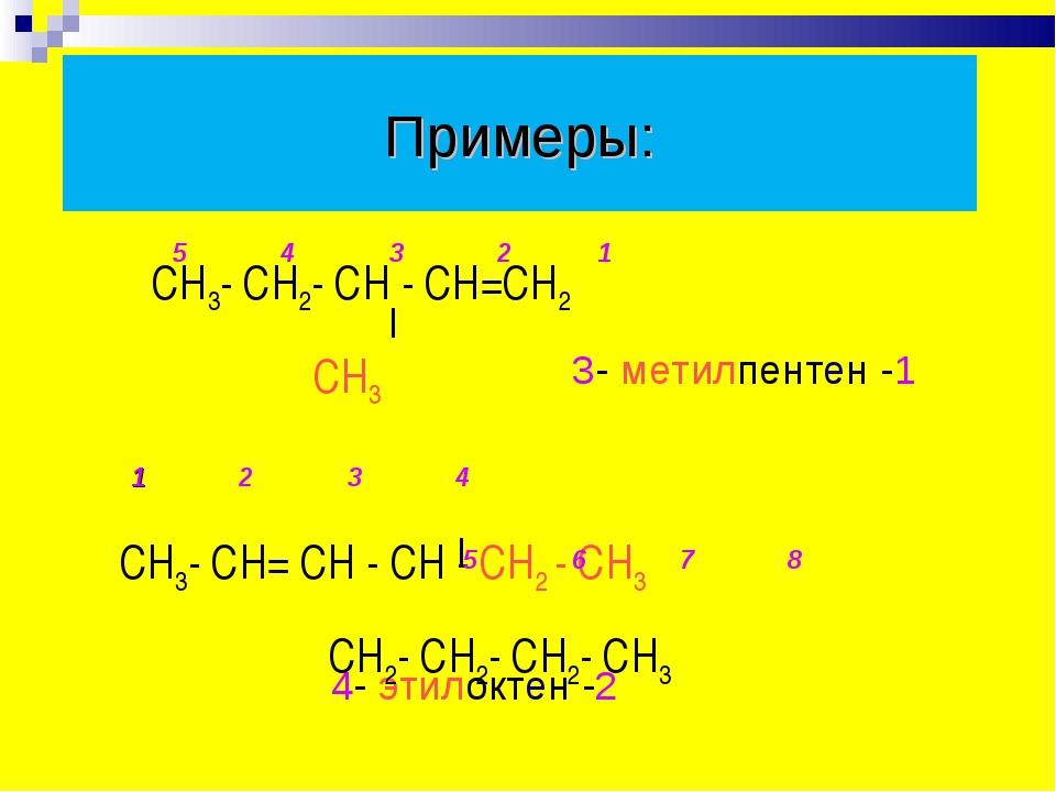 Примеры: 4- этилоктен -2 СН3- СН2- СН - СН=СН2 СН3 СН3- СН= СН - СН - СН2 - С...