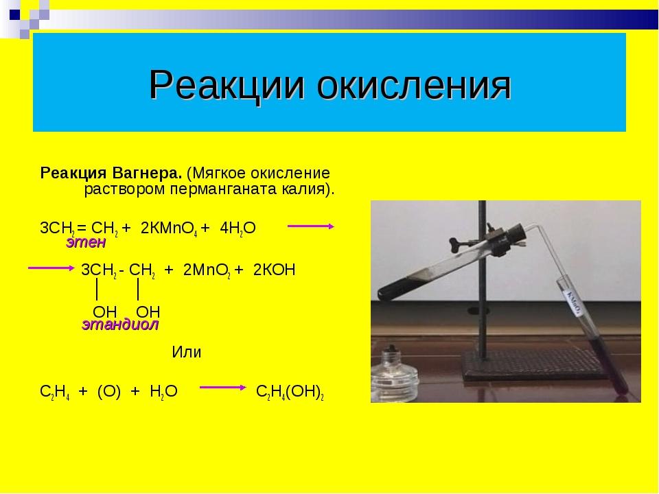 Реакции окисления  Реакция Вагнера. (Мягкое окисление раствором перманганат...