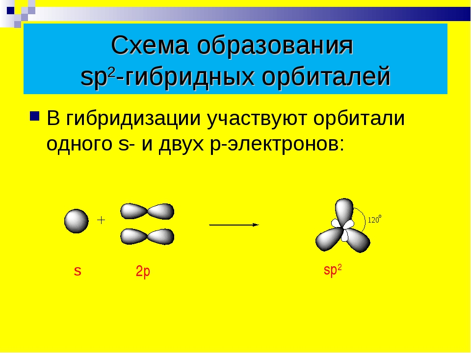 Схема образования sp2-гибридных орбиталей В гибридизации участвуют орбитали о...