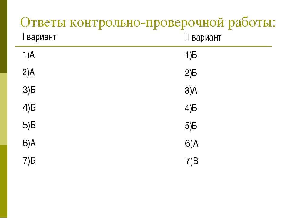 Ответы контрольно-проверочной работы: I вариант 1)А 2)А 3)Б 4)Б 5)Б 6)А 7)Б I...