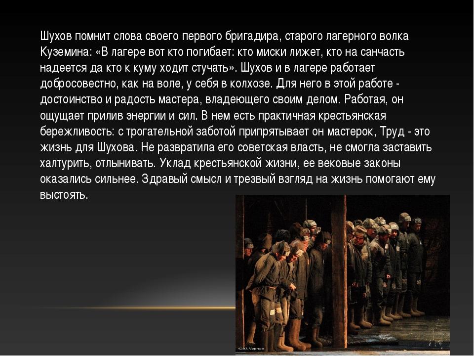 Шухов помнит слова своего первого бригадира, старого лагерного волка Куземина...