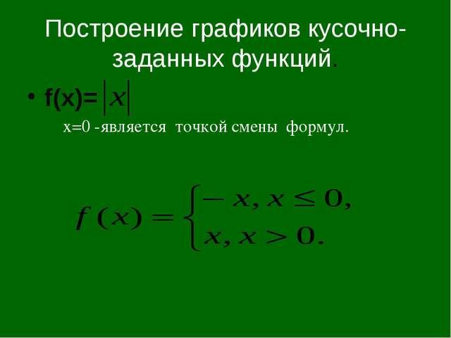 Построение графиков кусочно-заданных функций. f(x)= x=0 -является точкой смен...