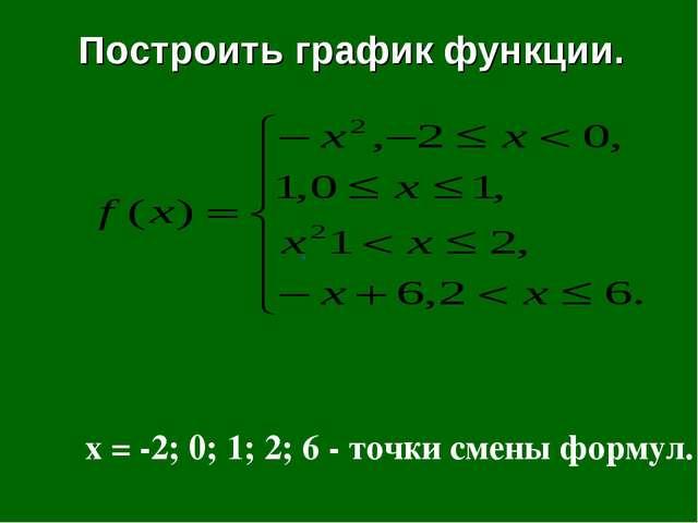 Построить график функции. , x = -2; 0; 1; 2; 6 - точки смены формул.