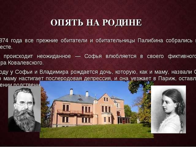 ОПЯТЬ НА РОДИНЕ Летом 1874 года все прежние обитатели и обитательницы Палибин...