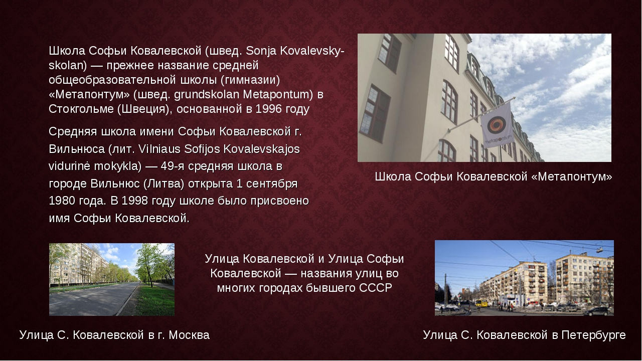 Средняя школа имени Софьи Ковалевской г. Вильнюса (лит. Vilniaus Sofijos Kova...