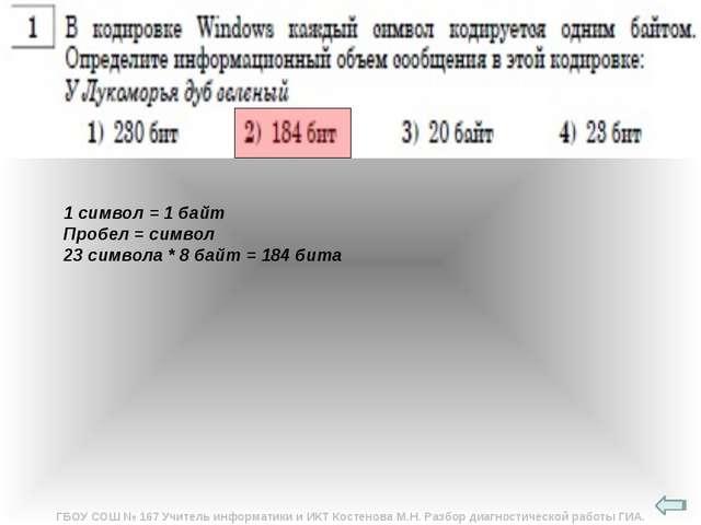 1 символ = 1 байт Пробел = символ 23 символа * 8 байт = 184 бита ГБОУ СОШ № 1...