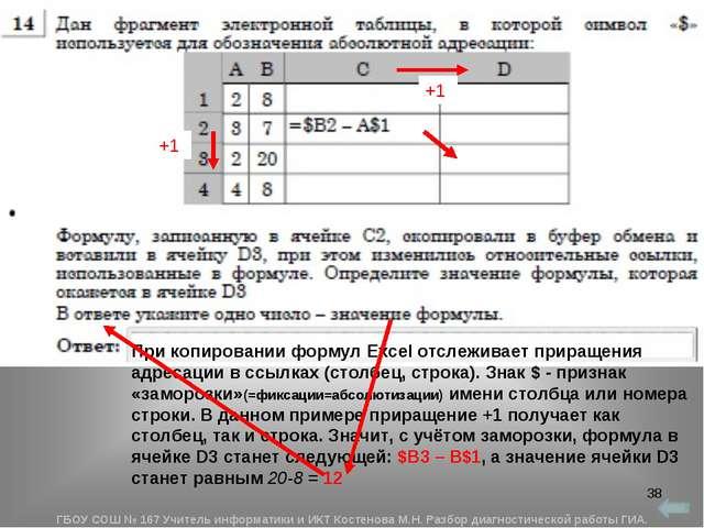 * При копировании формул Excel отслеживает приращения адресации в ссылках (ст...