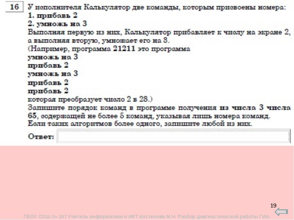* ГБОУ СОШ № 167 Учитель информатики и ИКТ Костенова М.Н. Разбор диагностичес...