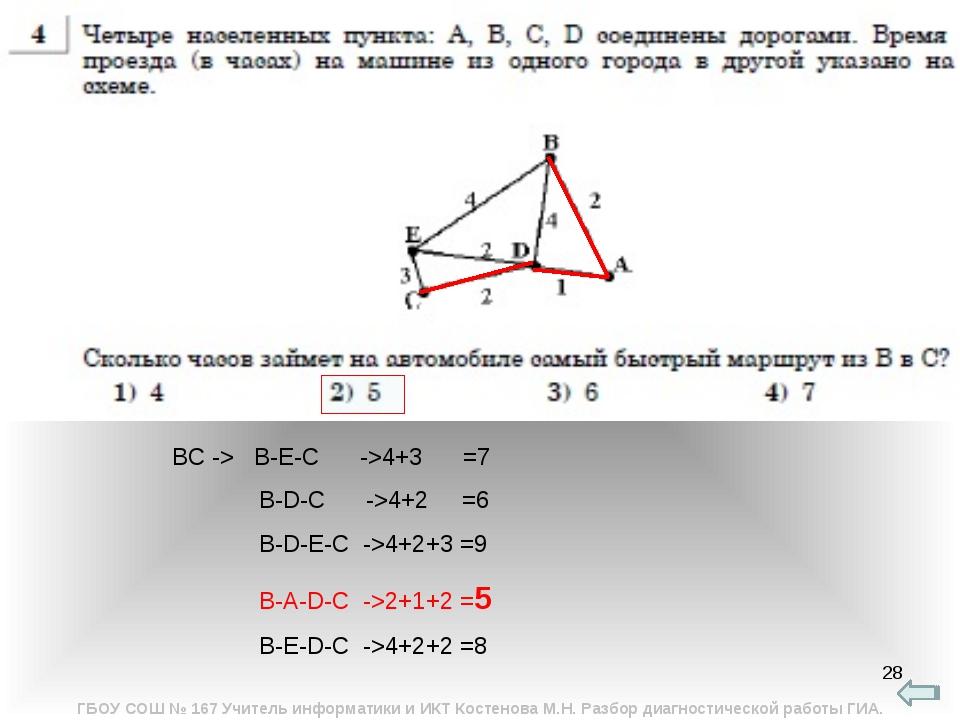 * ВС -> B-E-C ->4+3 =7 B-D-C ->4+2 =6 B-D-E-C ->4+2+3 =9 B-A-D-C ->2+1+2 =5 B...