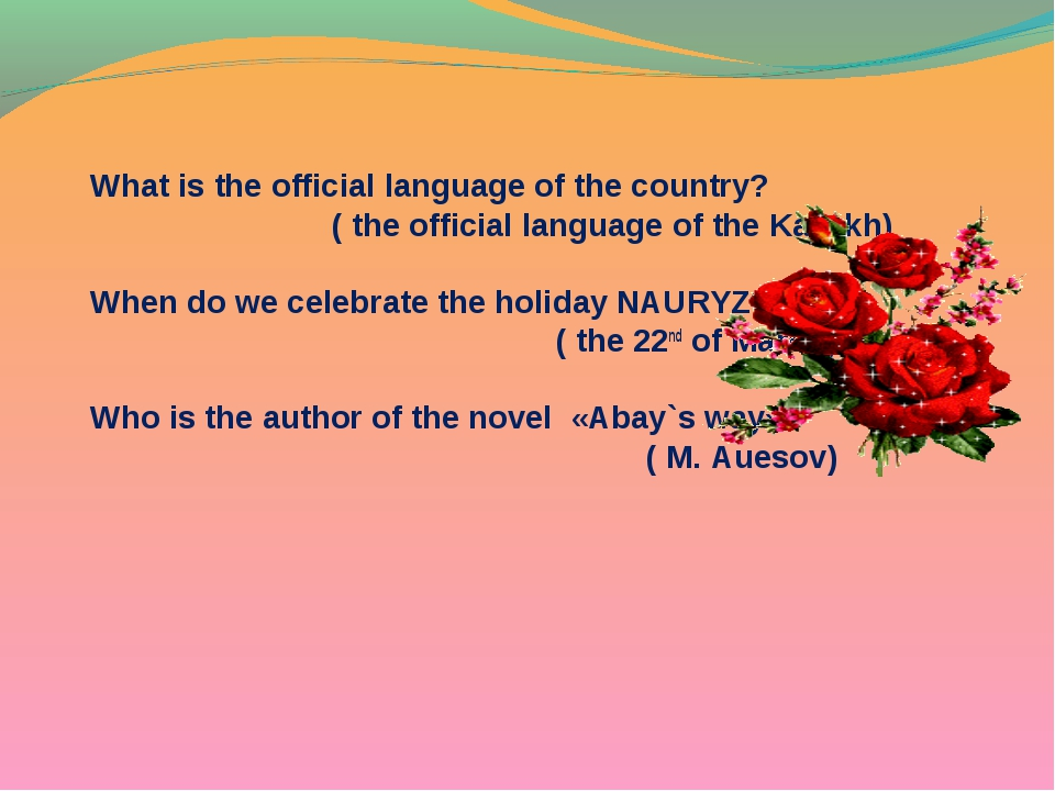 What is the official language of the country? ( the official language of the...