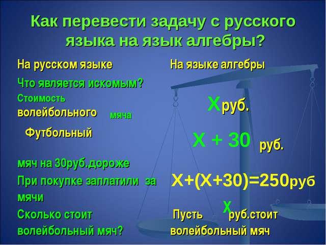 Как перевести задачу с русского языка на язык алгебры? волейбольного Футбольн...
