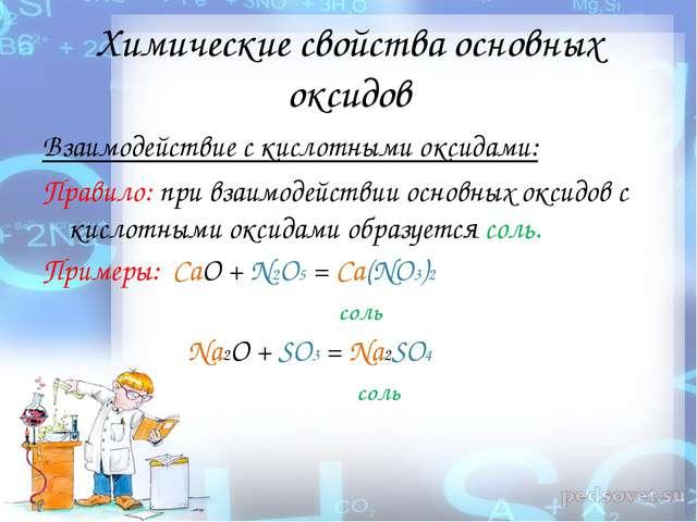 Химические свойства основных оксидов Взаимодействие с кислотными оксидами: Пр...