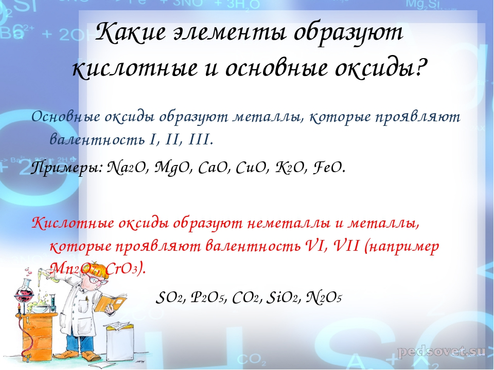 Какие элементы образуют кислотные и основные оксиды? Основные оксиды образуют...