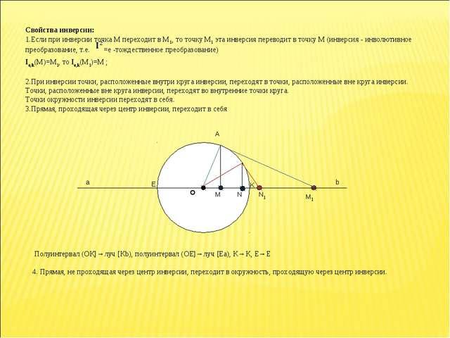 Свойства инверсии: 1.Если при инверсии точка М переходит в М1, то точку М1 эт...