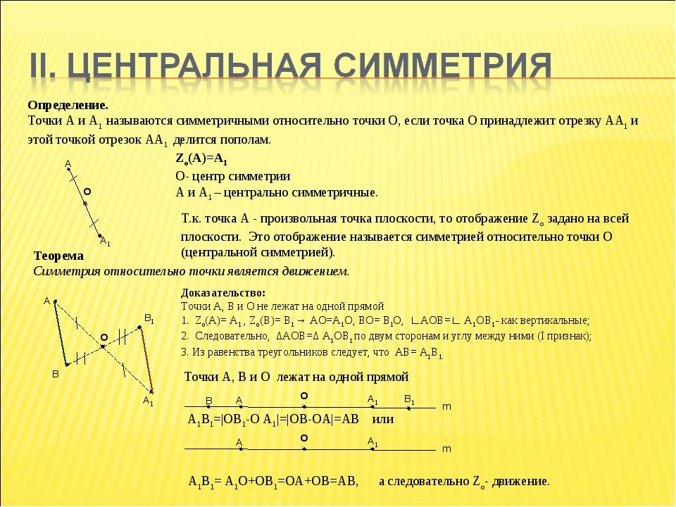 Определение. Точки А и А1 называются симметричными относительно точки О, если...