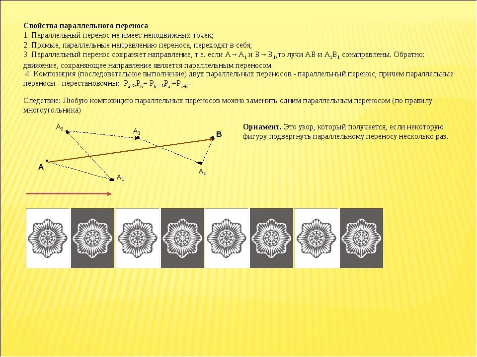 Свойства параллельного переноса 1. Параллельный перенос не имеет неподвижных...