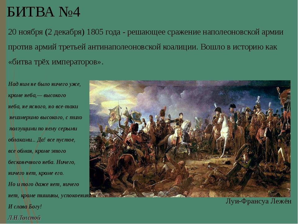 БИТВА №4 20ноября (2декабря)1805 года - решающее сражение наполеоновской...
