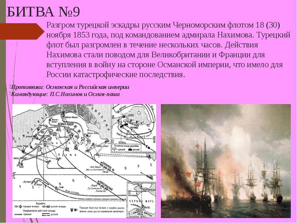 БИТВА №9 Разгром турецкой эскадры русским Черноморским флотом 18 (30) ноября...