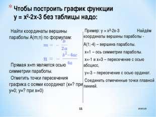 * * Чтобы построить график функции у = х²-2х-3 без таблицы надо: Найти коорди