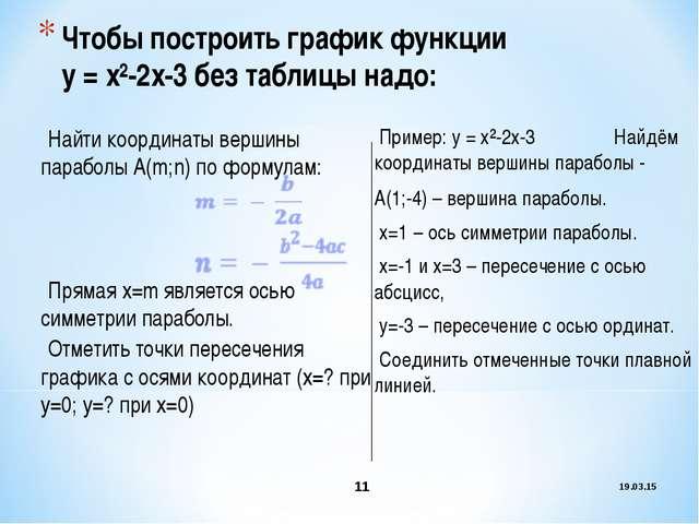 * * Чтобы построить график функции у = х²-2х-3 без таблицы надо: Найти коорди...