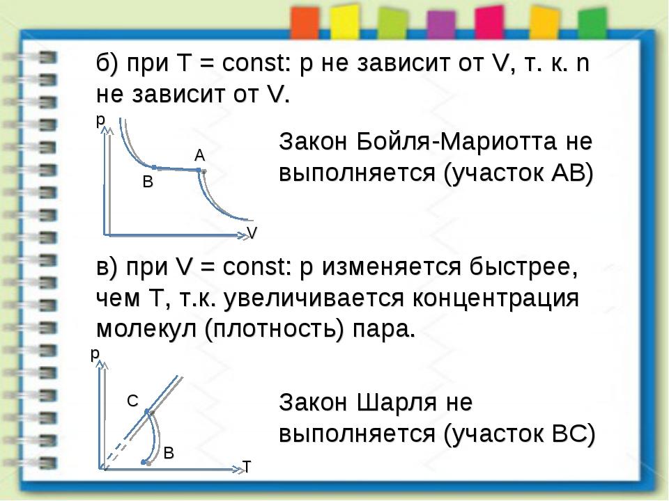 б) при T = const: p не зависит от V, т. к. n не зависит от V. Закон Бойля-Мар...