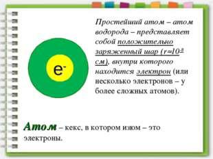 Простейший атом – атом водорода – представляет собой положительно заряженный