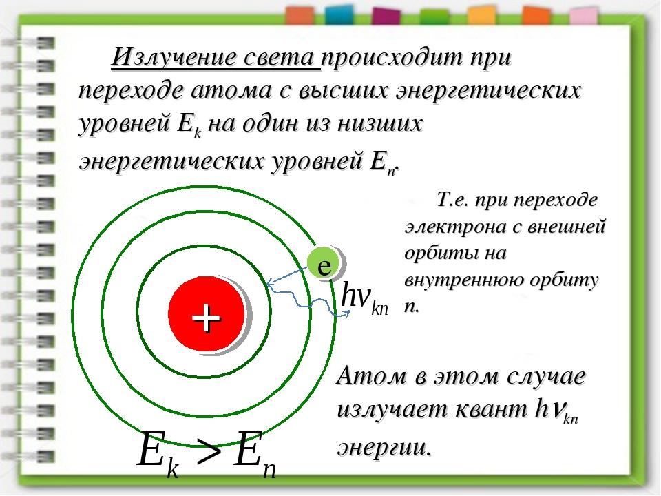 Излучение света происходит при переходе атома с высших энергетических уровней...
