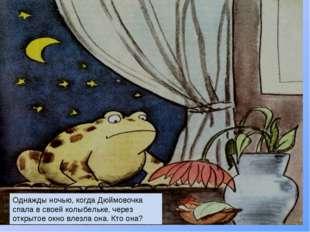 Однажды ночью, когда Дюймовочка спала в своей колыбельке, через открытое окно