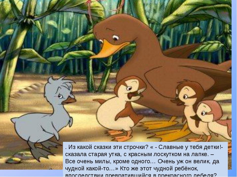 . Из какой сказки эти строчки? « - Славные у тебя детки!- сказала старая утка...